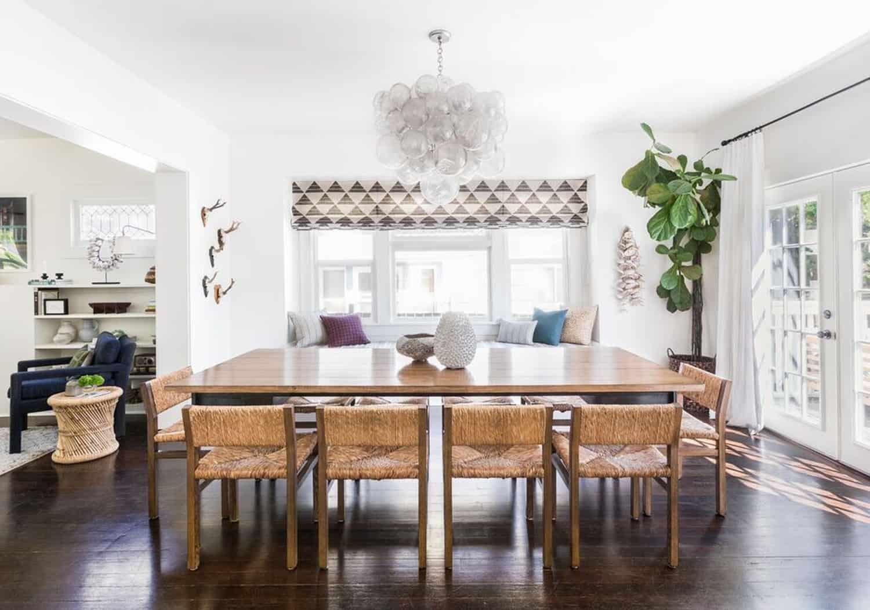 Heidi Caillier Design Seattle Interior Designer Dining Room Remodel Modern Bohemian Ethnic Textiles Plants