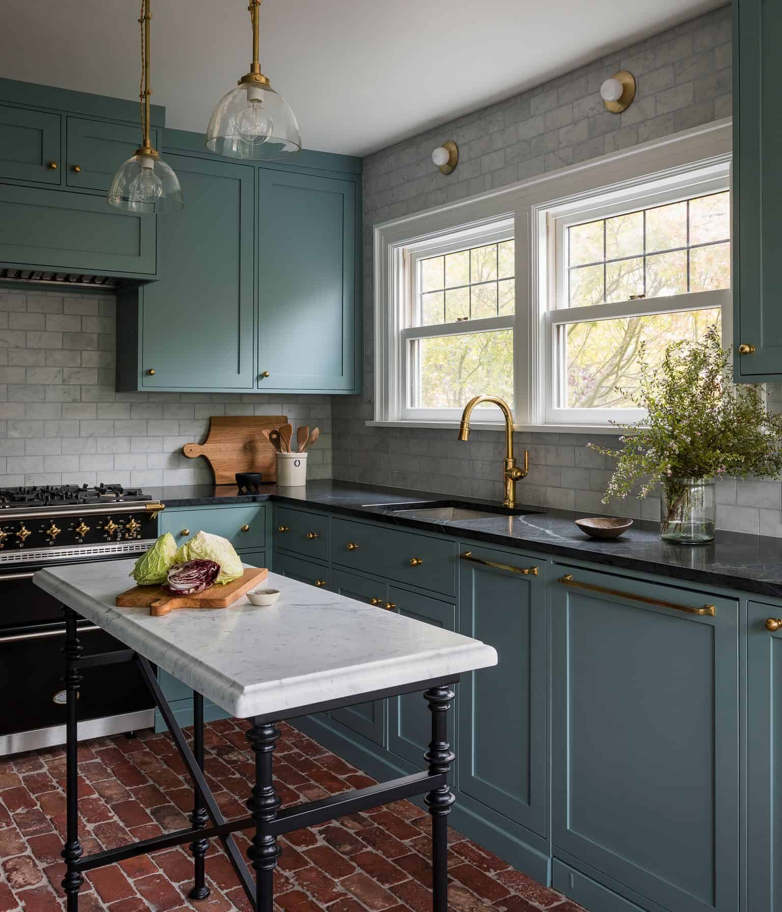 Blue Green Kitchen Cabinets: Pacific Northwest Tudor
