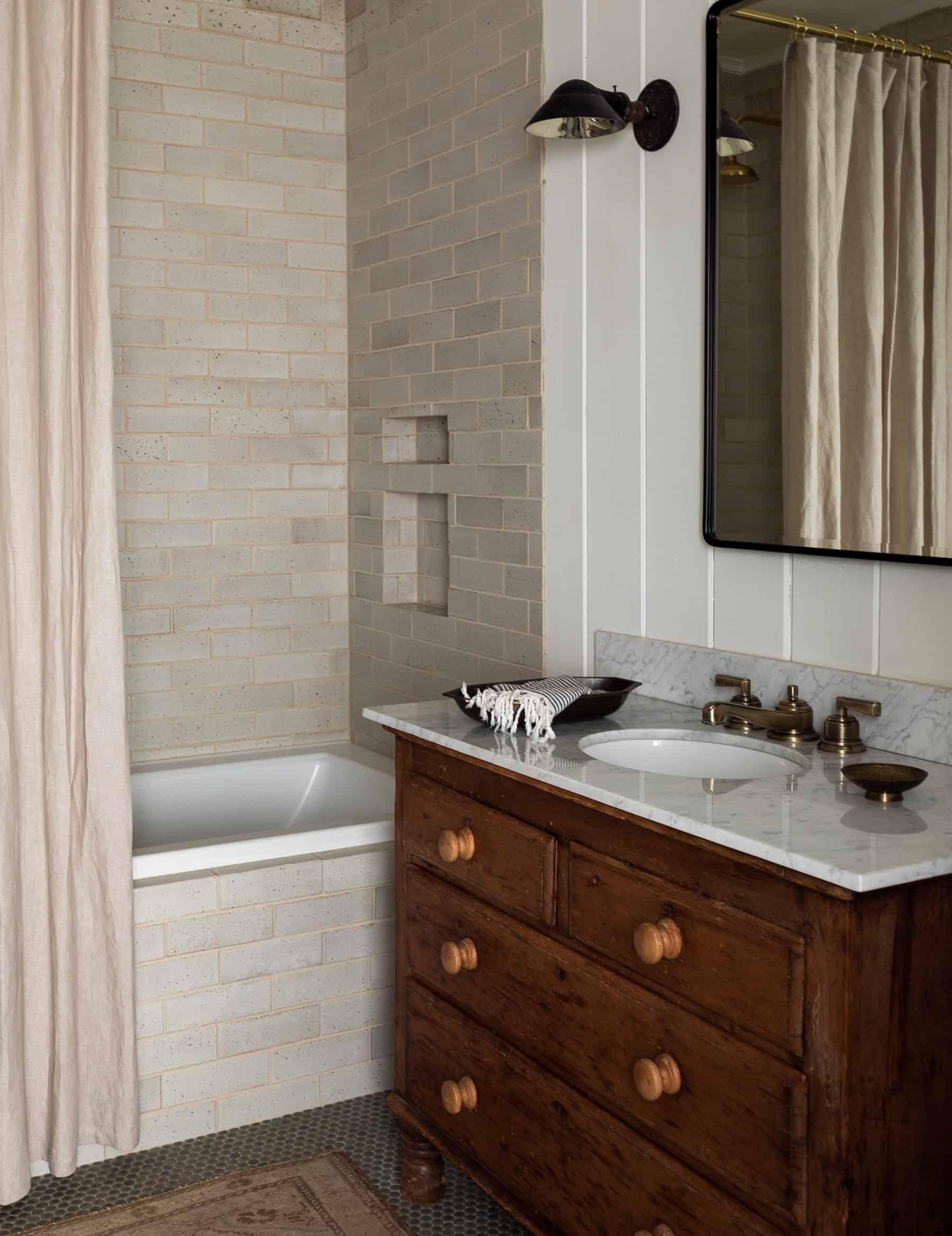 Heidi Caillier Design Seattle Interior Designer The Cabin And Snug Master Bathroom Modern Traditional Penny Tile