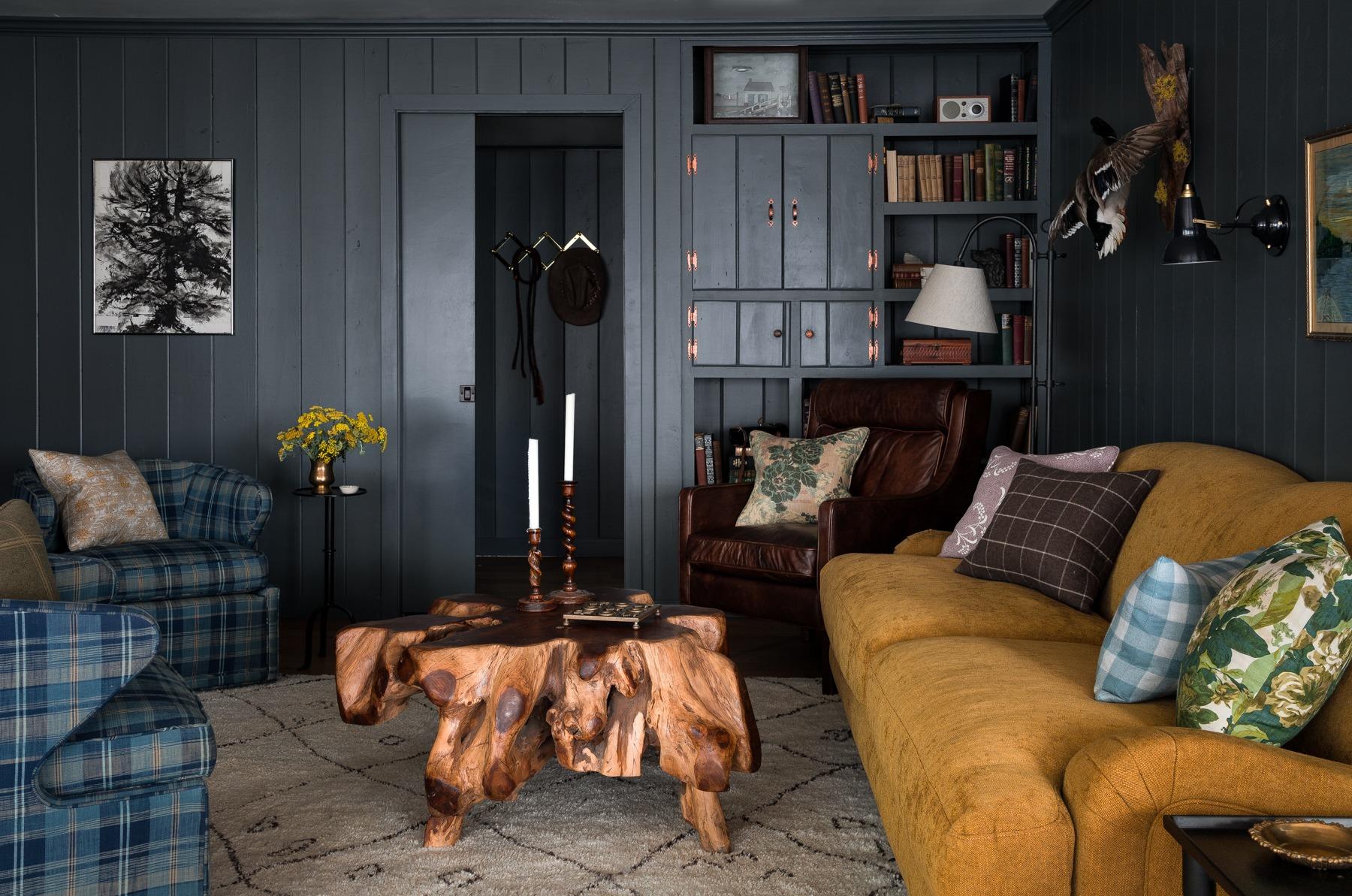 Heidi Caillier Design Seattle Interior Designer The Cabin And The Snug Modern Traditional Dark Walls Living Room Heidi Caillier