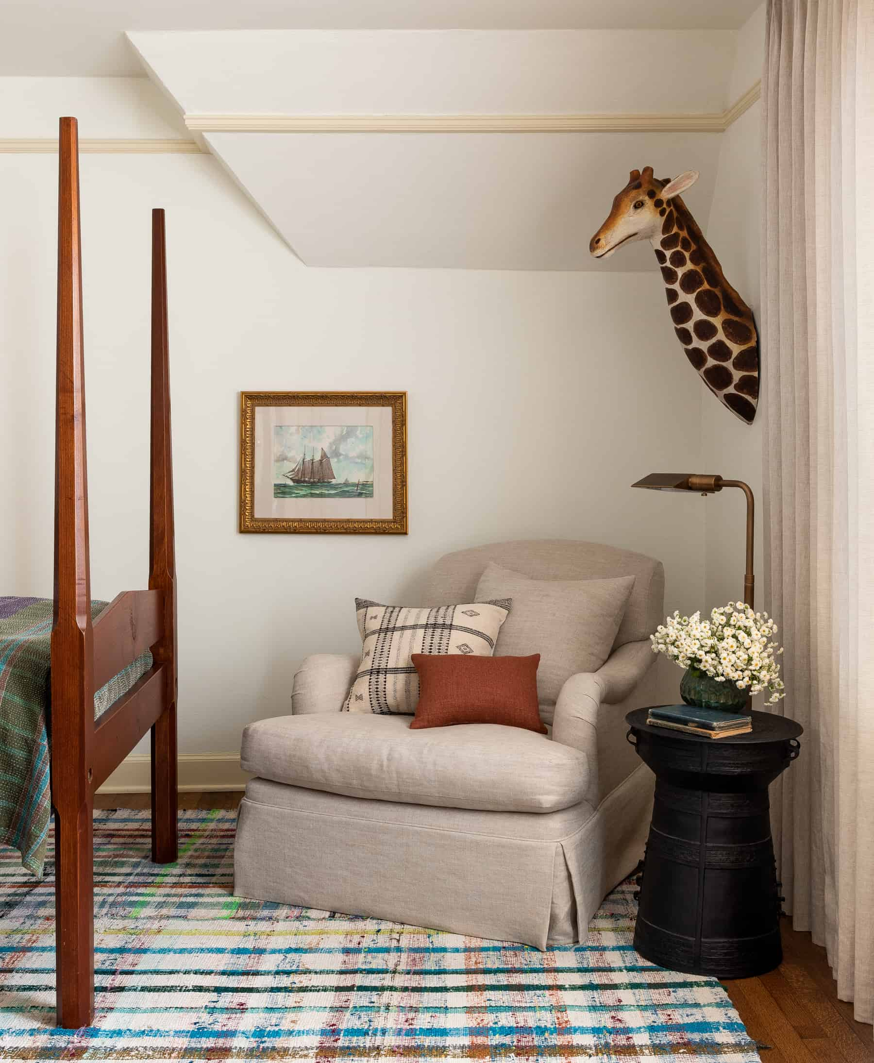 Heidi Caillier Design Seattle Interior Designer Kids Bedroom Matching Twin Beds Vintage Wood Beds Plaid Rug Kantha Blankets Custom Lampshade Yellow Painted Trim Heidi Caillier