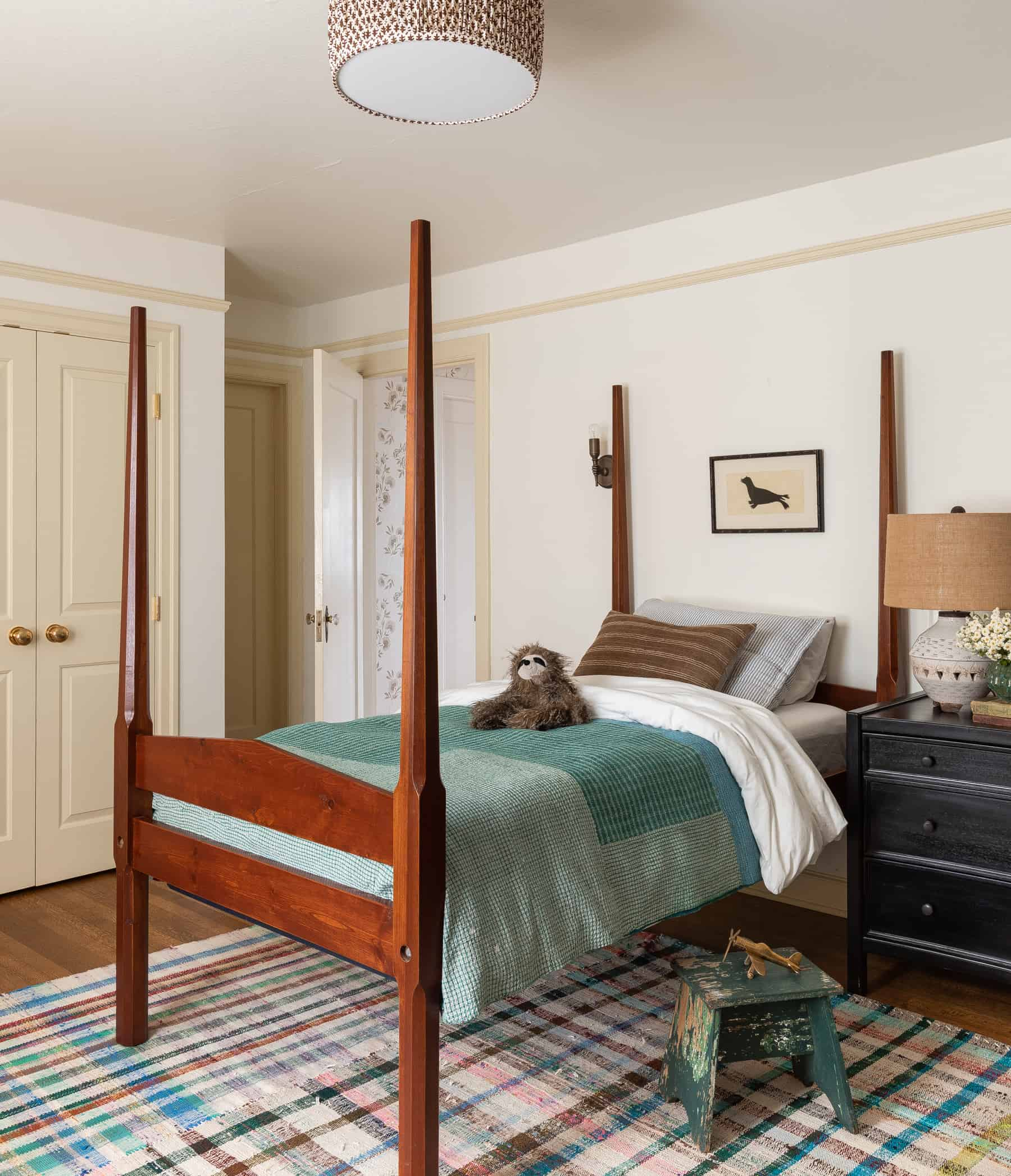 Heidi Caillier Design Seattle Interior Designer Kids Bedroom Matching Twin Beds Vintage Wood Beds Plaid Rug Kantha Blankets Custom Lampshade Yellow Painted Trim Nickey Kehoe Hand Sconce Heidi Caillier